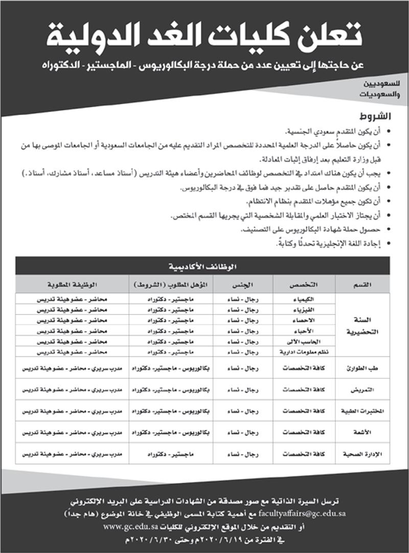 كليات الغد الدولية تعلن وظائف للرجال والنساء في مختلف مناطق المملكة