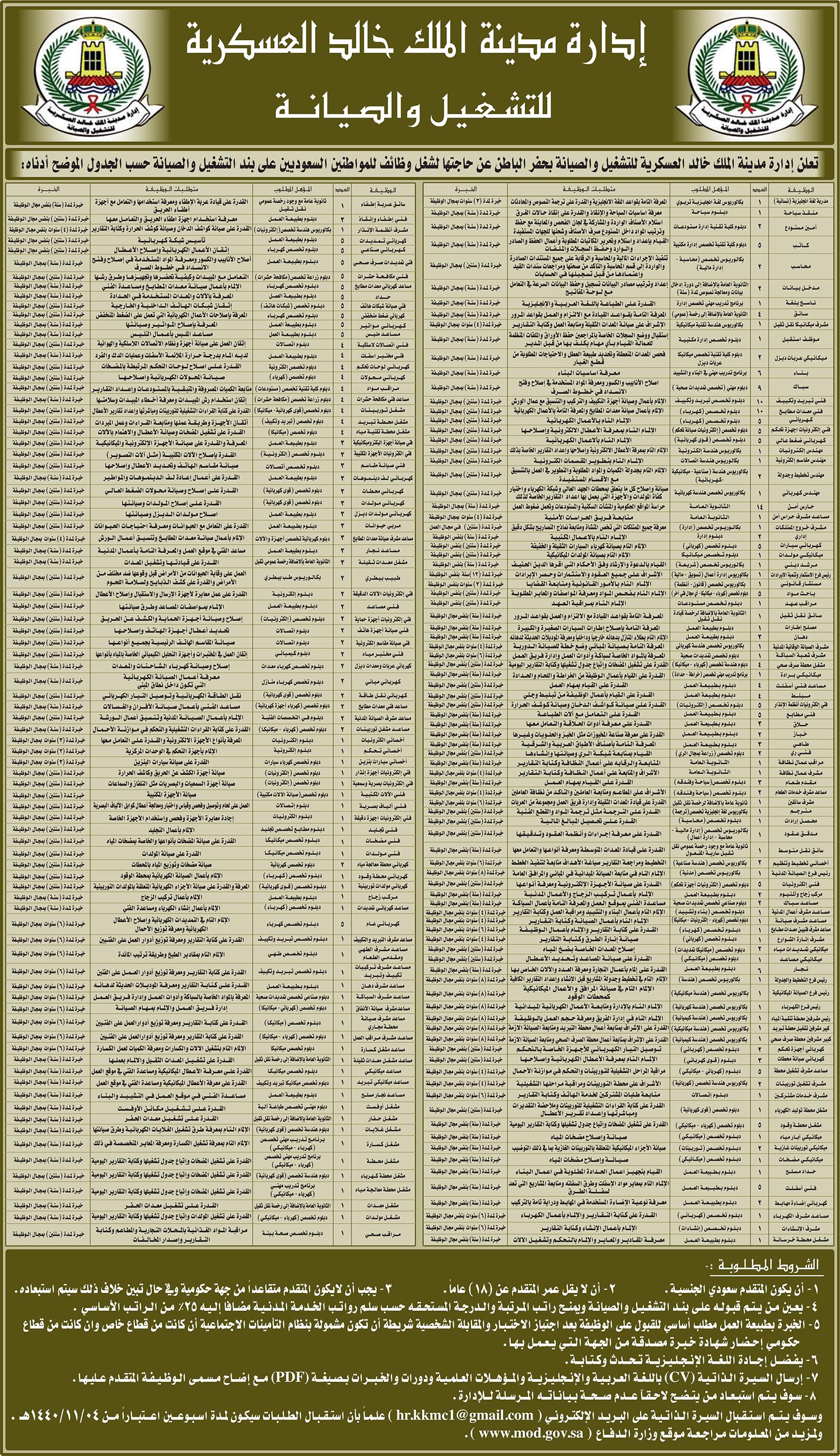 مدينة الملك خالد العسكرية تعلن توفر أكثر من 300 وظيفة متنوعة للرجال